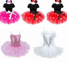 Girls Minnie Mouse Ballet Costume Tutu Bodysuit Leotard Skirt Dance Dress
