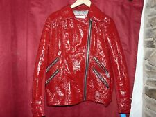 River Island Red wet look Faux leather motorbike style jacket size Medium