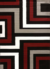 Gray Contemporary Synthetics Squares Lines Angles Area Rug All-Over 580-11272