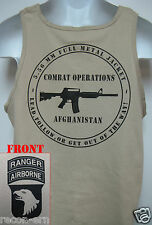 101ST AIRBORNE RANGER T-SHIRT/ AFGHANISTAN COMBAT OPS/ MILITARY TAN / ARMY / NEW