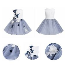 Girls KIds Flower Mesh Embroidered Dress Princess Pageant Wedding Party Birthday