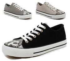 Womens Flat Sole Snake Leather Casual Lace Up Sneakers Gym Pumps Walking Shoes