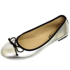 LADIES FLAT SILVER SLIP-ON SHOES DOLLY COMFY BALLET BALLERINA CASUAL PUMPS 3-8