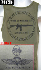 USMC FORCE RECON TANK TOP/ MCD/ OD GREEN / AFGHANISTAN COMBAT OPS T-SHIRT/  NEW