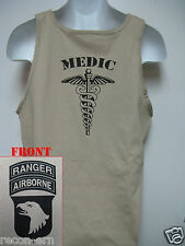 101ST AIRBORNE RANGER T-SHIRT/ MEDIC/ MILITARY TAN / ARMY / NEW