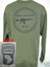 101st AIRBORNE RANGER LONG SLEEVE T-SHIRT/ IRAQ COMBAT OPS/ MILITARY/ ARMY / NEW