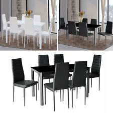 Rectangle Glass Dining Table and 4/6 Padded Chairs Set Metal Leg Dining Room Set