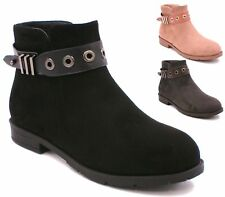 Womens Ladies Flat Ankle Boots Buckle Side Zip Casual Low Heel Shoes Sizes 3 - 8