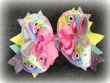 """Unicorn Poop Boutique Bow Triple Pink Purple Glitter Hairbow Stacked 4"""" 5"""" Bows"""