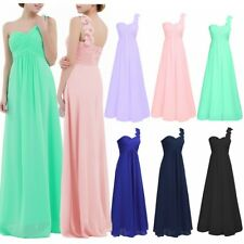 Women Long Chiffon Dress One-shoulder Bridesmaid Dress Evening Prom Ball Gown