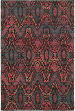 Brown Contemporary Machine Made Curves Curls Waves Area Rug All-Over 5562F