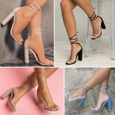 Womens Transparent Lace Up Sandals Block High Heel Slingbacks Party Shoes Size