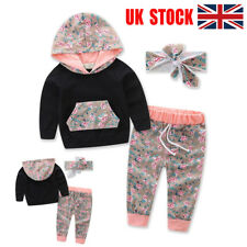 UK 3PCS Infant Baby Girl Hooded Sweater Tops+Long Pants Outfits Kids Clothes Set