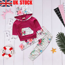 UK 2Pcs Toddler Baby Girls Floral Sweater Tops + Pants Set Kids Clothes Outfits