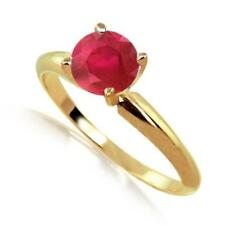 2 Carat Ruby Solitaire Ring 14k Yellow or White Gold