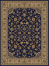 Blue Floral Scrolls Vines Blossoms Traditional-European Area Rug Bordered 1833