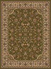 Green Vines Scrolls Leaves Blossoms Traditional-European Area Rug Bordered 1833