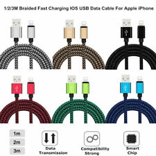 1M/2M/3M Nylon Braided IOS Data Sync Fast Charger Cable Adapter For Apple iPhone