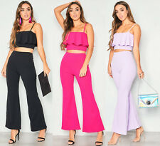 Womens Ladies Frill Crop Top Wide Leg Trouser Two Piece Co Ord Suit UK 6-14