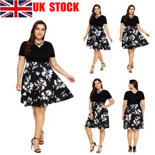 UK Women Lady Floral Short Sleeve Lace Up Deep V Casual Party Skater Midi Dress