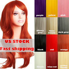 Women Costume Full Wig Real Soft Hair Long Straight Curly Wave Synthetic Hair Ds