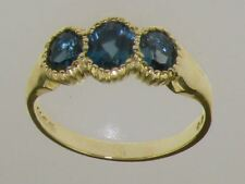 9ct Yellow Gold Natural London Blue Topaz Womens Trilogy Ring - Sizes J to Z