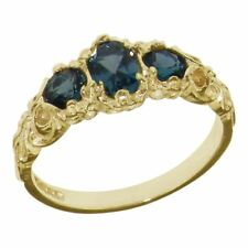 10ct Yellow Gold Natural London Blue Topaz Womens Trilogy Ring - Sizes J to Z