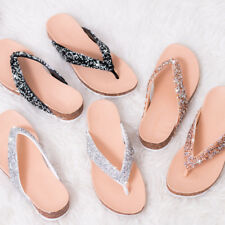 Womens Glitter Toe Thong Flip Flop Flat Sandals Pumps Shoes Sz 5-10