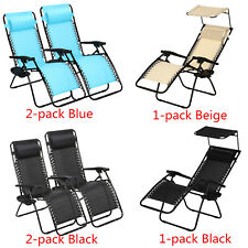Zero Gravity Folding Lounge Chairs W/ Drink Holder Beach Patio Outdoor Recliner