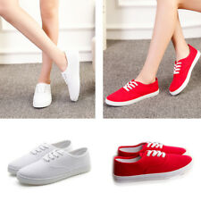 Classic Women Girls Student Canvas Low Top Canvas Sneakers Trainers Flats Shoes
