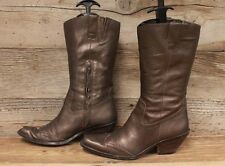 Womens Coldwater Creek Leather Metallic Bronze Western Cowboy Boots Sz 7 M