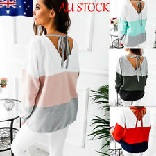 AU Womens Striped Lace Up Blouse Backless Casual T-shirt Long Sleeve Shirt Tops