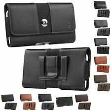 Luxmo Leather Belt Clip Pouch Holster Phone Holder Horizontal #12 Black