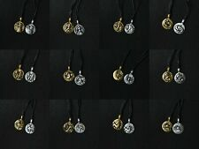 Astrology Silver Pewter Gold Brass Charm Necklace Pendant Horoscope Zodiac