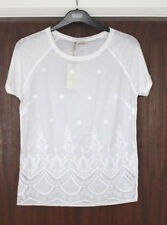 M&S Indigo Collection Size 8 Pure Cotton Short Sleeve Top Lace Trim Bnwt White