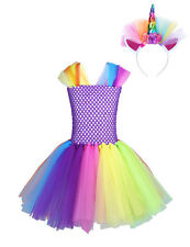Kids Girls Unicorn Princess Outfit Tutu Dress Rainbow Party Cosplay Costume Sets