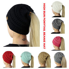 Soft Warm Stretch Cable Knit Messy High Bun Ponytail Beanie Hat Ribbed Skull Cap