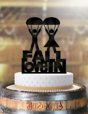 Fall In Love Parachute Couple Wedding Cake Topper