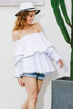 Casual Long Sleeve New Fashion Ruffle White Color Blouse For Women