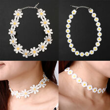 Women's Vintage Daisy Choker Chain Flower Necklace Yellow & White Boho 80S 90S