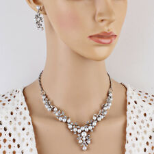 Lady Fashion Wedding Party Pearl Rhinestone Short Necklace Earrings Jewelry Set