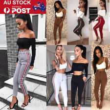 AU Womens Ladies Striped Strappy Long Cargo Pants Casual Elastic Banded Trousers