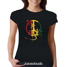 Peace Iguana Cool Rasta JUNIORS Fitted Shirt Jamaica Love Peace Sign Tee