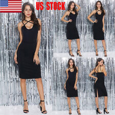 Women's Sleeveless Backless Spaghetti Strap Cocktail Party Midi Pencil Dress USA