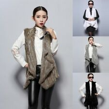 New Real Casual Thick Vests Genuine Knitted Rabbit Fur Gilet Waistcoat Women