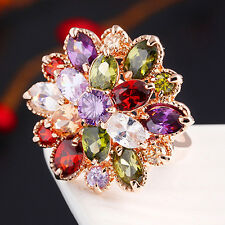 Lady's 18K Gold Plated Alloy Ring Cubic Zirconia Colorful Crystal Flower Fashion