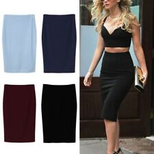 AU Elegant Womens Lady Slim Stretch Pencil Skirt High Waist Bodycon Office Dress