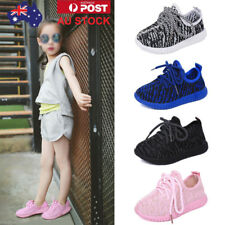 Kids Boys Girls Running Sports Sneaker Casual Trainers Laces Flat Shoes Size