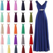 Long Bridesmaid Dresses Chiffon Wedding Party Prom Cocktail Homecoming Gown E3UJ