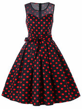 1950s Red Swing Polka Dot Retro Style Vintage Rockabilly Pin Up Skater Dress